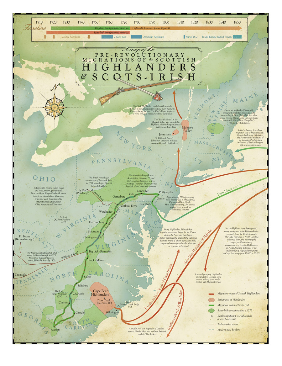 Map and timeline of Scots-Irish from Ulster and Scottish Highlanders to the American Colonies before the American Revolution, the former migrating to the frontier.