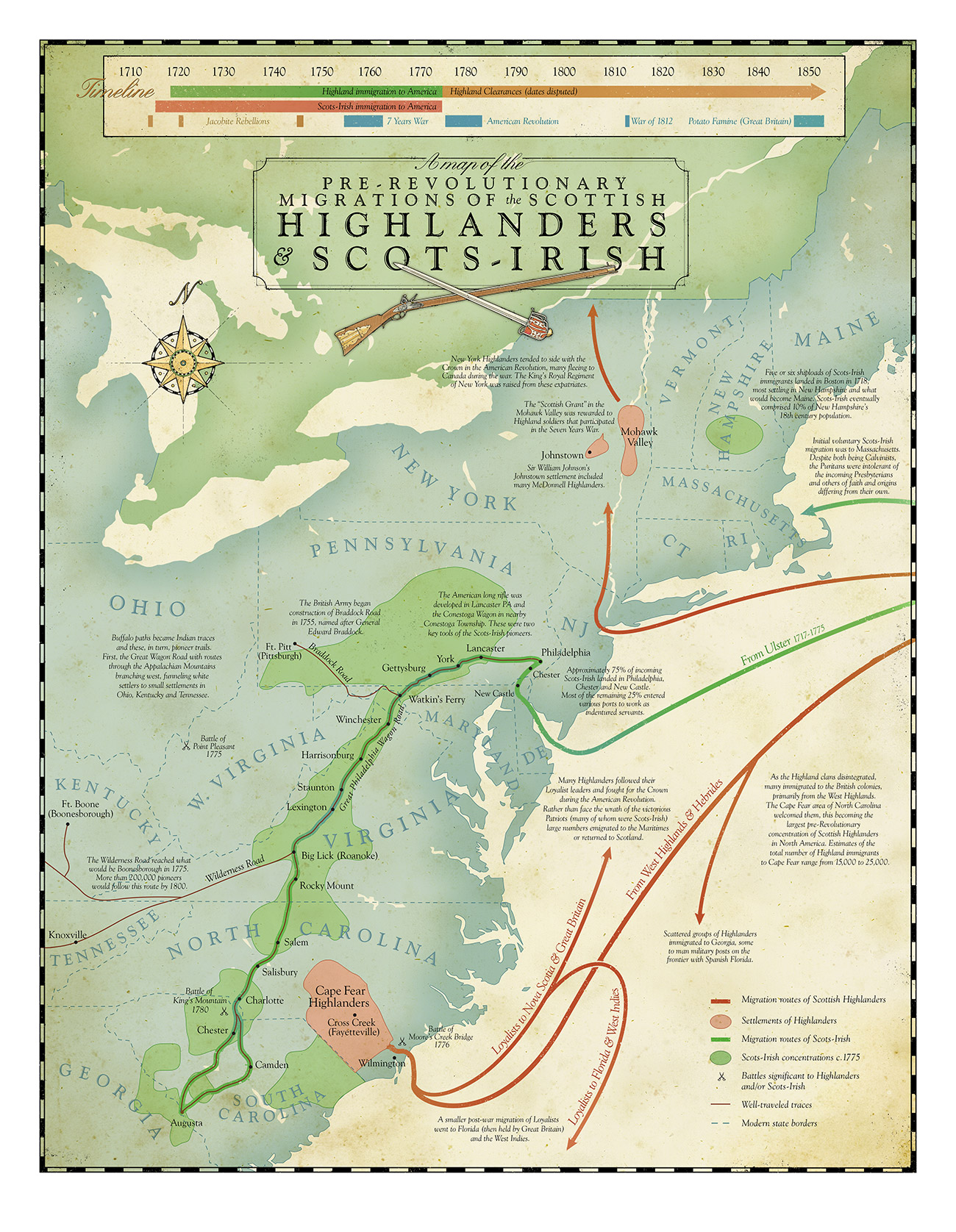 Map Of PrRevolutionary Highlander And ScotsIrish Migrations To - Map of american colonies
